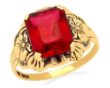 VTG Flower Red Stone Ring in 10k Solid Yellow Gold