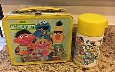 Sesame Street Lunch Box with Thermos- Metal, Tin - 1979 - Collectible