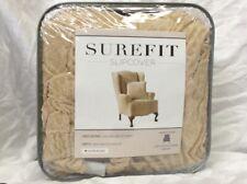Surefit Stretch Royal Diamond Wing Chair Cream Slipcover  NIP