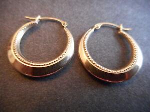 Vintage Estate 10K Yellow Gold Embellished Hoop Earrings