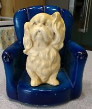 Spaniel Dog on a blue stuffed chair plaster chalk figurine vtg