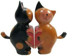 "Cat Statues ""I Love You"" Sculpture Figurines Painted Wood 16.5 x 22 cm"
