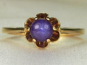 10k Yellow Gold Purple Star Sapphire-.50 tcw Solitaire Band Fine Ring-Size 6.25