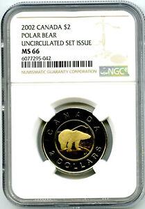 2002 $2 CANADA GOLDEN JUBILEE TOONIE POLAR BEAR NGC MS66 POPULATION JUST 4