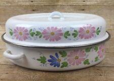 """Vtg Porcelain Enamel Roasting Pan Roaster White Blue Pink Floral Flower Lid 15"""""""