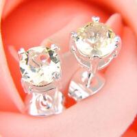 Rectangle Style Woman Shiny Honey Morganite Gemstone Silver Stud Hook Earrings