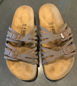 Womens Birkenstocks Sandals Grenada Brown Tan Leather Size 38 Regular Width