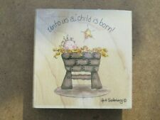 Large 90x90 'Unto Us A Child Is Born' Rubber Craft Stamp Wood Mounted - VGC