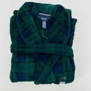 Nautica Mens One Size Soft Fleece Green Blue Plaid Tartan Robe New