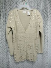 Kathie Lee Sweater Size XS Beige Button Front Long Sleeve Ribbons  Beads Casual