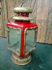 OLD VINTAGE KEROSINE LAMP LANTERN MADE IN HONG-KONG ORIGINAL GLASS .