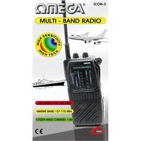 Omega Icon-3 Multi Band Radio Receiver AIR PB MARINE WB CITIZEN CB TV-1 Black