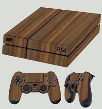 madera de nogal ACABADO PS4 KIT ADHESIVO DE skins + 2x Pad pegatina vinilo LAY