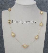 "N8224 - 18"" 13-14mm gold baroque freshwater pearl necklace + 925 silver chain"