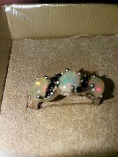 Ethiopian Opal and Black spinel ring size 7 Designer 925 Sterling silver ( Y )