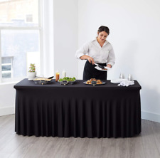 New Listing6ft Spandex Fitted Tablecloth and Table Skirt (Black) - One-Piece, Wrinkle-Resis