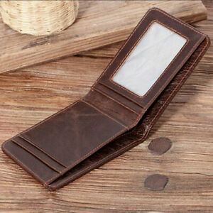 Men's Slim Billfold Wallet Genuine Leather RFID Blocking Card Holder Money Clips