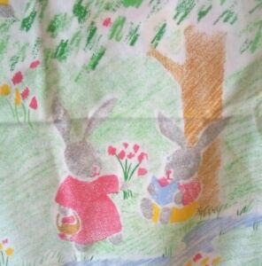 Vintage 80s 90s Cot Childs Bed Duvet Cover Mothercare White Blue Red Rabbits