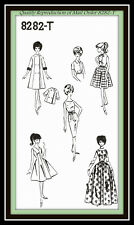 "11½"" BARBIE Doll Clothes Sewing Pattern DRESS SKIRT COAT JUMPER BLOUSE 8282-T MO"