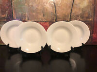 4 NEW Basic White Rim Soup Salad Plate Bowl JCPenny Home Collection RARE