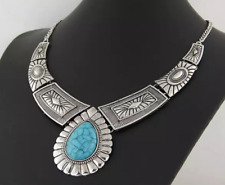 Chunky Silver Gold Bib Necklace Turquoise Collar Aztec Boho Costume Jewellery UK