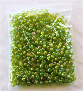 GLASS SEED BEADS; 4mm Lime AB, sold in 30gr packs                          #151