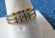 14K Solid Gold Tri-Color w/ 9 Diamonds  BAND RING VINTAGE SZ 71/4-7 1/2 Perfect