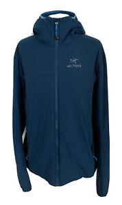 Womens Arcteryx Lightweight Blue Hooded Jacket Side Stretch Panels Size XL 12-14