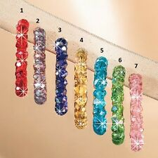 """#6 GREEN HOOP Earrings W/ SWAROVSKI CRYSTAL NEW 1-1/2"""" L PIERCED LEVER BACK"""