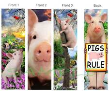 3 Set - PIG BOOKMARK PIGS RULE Sign Book Mark Card ART Figurine Ornament-Not Toy