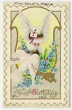 ANTIQUE BIRTHDAY GREETINGS POSTCARD WHITE BROWN BIRDS BLUE FORGET ME NOT FLOWERS