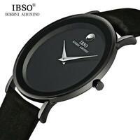 IBSO 6MM Ultra Slim Men's Quartz Watches Luxury Genuine Leather Waterproof