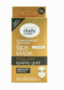 5 x Sachets Sparkly Gold Peel Off Face Mask Hydrolyzed Collagen & Q10