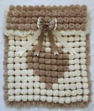 CREAM & FAWN BROWN HEART POM POM TURNOVER BABY GIRL BLANKET WITH REMOVABLE BOW