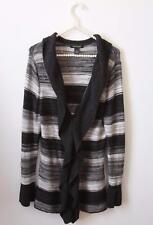 White House Black Market Ombre Striped Long Ruffle Cardigan Sweater Gray Wool M