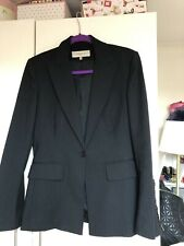 Karen Millen Grey Wool Striped Suit Jacket Size UK 10