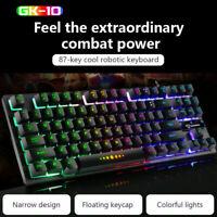 GK-10 Wired 87Keys Mechanical Gaming Keyboard RGB Backlit for PC Gamer