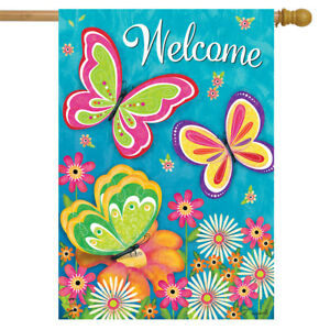 "Butterfly Garden Spring House Flag Welcome Floral 28"" x 40"" Briarwood Lane"