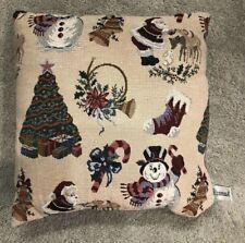 "Riverdale Tapestry Christmas Tree Santa Stocking  Throw Pillow 14.5"" x 15"""