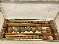 Antique Croquet Set Wooden 8 Player Dovetailed Green Storage Box