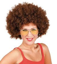 MUJER AÑOS 70 1970s Grande Rizado Peluca Afro Marrón Claro Fiesta De Disfraces