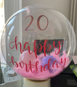 """Personalised Balloon Bubble Bobo KIT Message 20"""" Clear With Feathers Set Orb"""