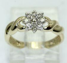 Diamond cluster twist ring 14K yellow gold floral round brilliants .15CT sz 5.25