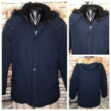 Company Of Adventuers Blue Goose Down Fur Collar Parka Coat Mens Size Large