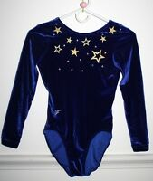 Foxy's Fitness Competition Velour BLUE W/ SHINY GOLD STARS LEOTARD Women Sz S 26