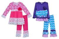 NEW Boutique Girls Pink Purple Long Sleeve Ruffle Tunic Dress Leggings Outfit