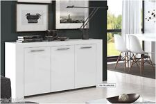 CUBO WHITE GLOSS SIDEBOARD STORAGE CUPBOARD LOUNGE DINING FURNITURE