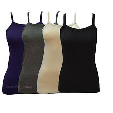 LADIES STRAP CAMISOLE VEST TOP STRETCH SLEEVELESS CAMI T-SHIRT SIZE S - XL