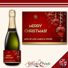 L91 Personalised Merry Christmas Red Baubles Prosecco Brut Bottle Label - Gift!