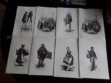 """Lot de 8 MENUS """"GRAVURE ANCIENNE"""" DU CONCORDE, AIR FRANCE, VOL PARIS-NEW-YORK"""